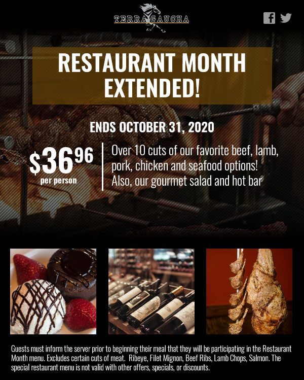 Restaurant Month At Terra Gaucha Has Been Extended Until October 31, 2020